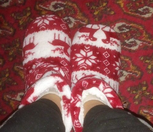 Mixed Print Fluffy Indoor Boots photo review