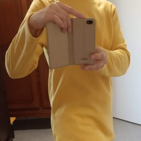 Casual Fleece-blend Round Neck Solid Long Sweatshirt photo review